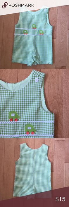 Adorable baby romper NWOT- never worn. Very well made. Sewn buttons on cars. SO CUTE!!! Jayne Copeland Other