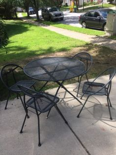 Vtg Mid Cent Mod Folding Round Patio Table Chairs Salterini Style Rid Jid 1960s In Home