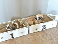 You've heard of babies sleeping in drawers in the days of yore, so why not convert some old dresser drawers into a spot for your little furry kids? Paint and distress the wood for a shabby chic look, and affix some house numbers on the front to designate which pup sleeps where. Burlap-covered pillows in each make them perfect for napping. Get the tutorial at Liz Marie. RELATED: The Top 10 Dogs of Instagram - CountryLiving.com