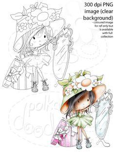 Winnie Sugar Sprinkles Springtime - New Bonnet - Printable Crafting Digital Stamp Craft Scrapbooking Download - Polkadoodles Ltd