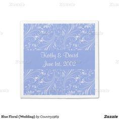 Blue Floral (Wedding) Standard Cocktail Napkin