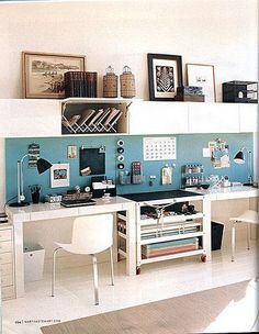 """My """"office"""" will NEVER, EVER look like this, but I love the idea of the magnet boards on the wall! .............. Backdrop crafted from alternating panels of bulletin and magnetic board is covered in aqua linen"""