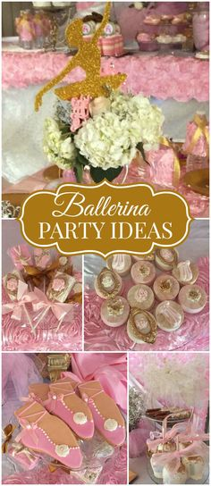Here's a ballerina party with lots of pink and gold! See more party ideas at CatchMyParty.com!