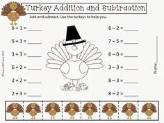Free!!    http://www.teacherspayteachers.com/Product/Turkey-Addition-and-Subtraction-962630