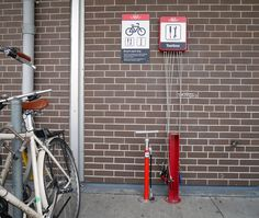 Painted bright red, TTC Bike repair stations include abike pump and a wheel chock, as well as wrenches, screwdrivers and Allen keys.