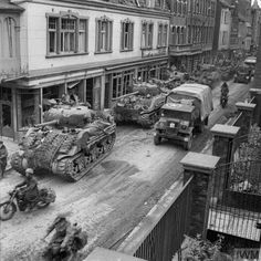 British tanks and transport from the 8th Armored Brigade in Kevelaer, Germany... March 4, 1945.