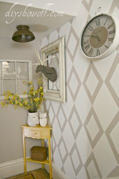Tape stencil wall tutorial, stairwell landing makeover.