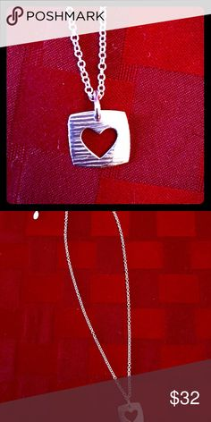 """Barse sterling silver necklace Barse sterling silver necklace with square textured pendant and heart cut out. Sturdy chain is 16-18"""" long with extender. Pendant is 1"""" square. Brand new. Studio Barse Jewelry Necklaces"""