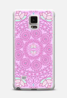 New! Galaxy phone case. Pink Petal Doily2