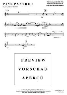 pink panther tenor sax sheet music pdf