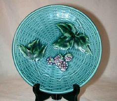 Beautiful Majolica Plate Raised Design on Light Blue Basketweave Background Purple Grapes with Green Colored Vines GS Zell 2230