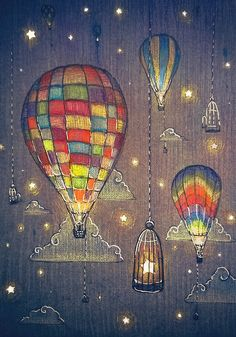 """""""Baloon Sky Stars Fishing"""" Greeting Cards by illustore 
