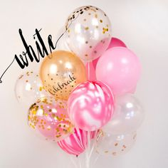 Confetti balloon Pink white or gold bouquet, girls birthday party, wedding AU Free shipping ($27) found on Polyvore
