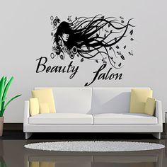 Wall Decals Woman Girl Hair Vinyl Sticker Decal Hairdressing Beauty Salon Decor Living Room Home Interior Design Art Mural MN159