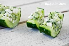 Cucumber Boats : 2 cucumbers (about 1 pound each)-2 ounces crumbled feta cheese 1/4 teaspoon salt-1 teaspoon fresh parsley or dill  chopped-freshly ground black pepper  to taste. Hollow out the seeds. Fill with mixture and slice in 1 pieces. Chill till serving..