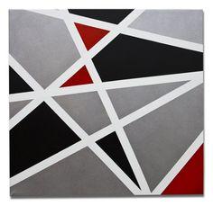 Esta é uma pintura feita pela artista Mel Gama.  Arte com motivo geométrico, estilo moderno e sofisticado nas cores branco, prata, preto e vermelho.  Peça bem moderna e posso fazer uma pintura semelhante em outros tamanhos a combinar. TÍTULO: Olhar Diferente DIMENSÕES: 60 x 60 x 3cm (Tela em 3D) MÉDIUM: Acrílico em tela  As laterais também são pintadas e chegarão prontos para exibição.  A simulação da decoração pode não estar com escala correta - é somente para se ter uma ideia.  Todas… Tape Art, Traditional, Table Decorations, Painting, Home Decor, Off White Colour, Colors, Fabrics, Artists