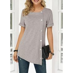 Cute Tunic Tops For Women Asymmetric Hem Round Neck Button Detail Denim Blouse Stylish Tops For Girls, Trendy Tops For Women, T Shirts For Women, Mode Outfits, Fashion Outfits, Fashion Shoes, Girl Outfits, Denim Blouse, Grey Blouse