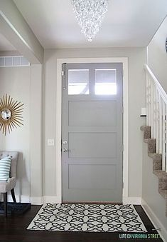 Non-front door color - Walls: Behr Castle Path - Door: Behr Elephant Skin. Love these paint colors! Interior Paint Colors, Gray Interior, Paint Colors For Home, Home Interior, Interior Design, Painting Interior Doors, Painting Furniture, Bher Paint Colors, Living Room Paint Colors