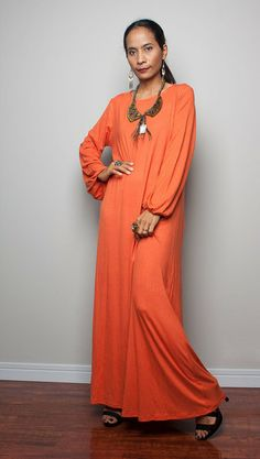 Maxi Dress / Long Sleeved Orange Dress  : Autum... from Nuichan by DaWanda.com
