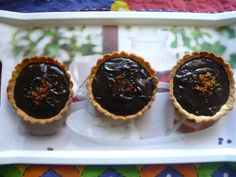 Bittersweet Chocolate Pudding And Praline Tartlets