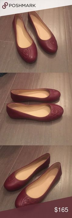 Tory Burch Ruby Ballet Flats Tory Burch Ruby Ballet Flats. Never worn. Sold out. Tumbled Leather. Color is Cabernet. Tory Burch Shoes Flats & Loafers