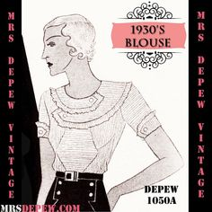 Vintage Sewing Pattern 1930's Blouse in Any Size Depew 1050a Draft at Home Pattern - PLUS Size Included -INSTANT DOWNLOAD-
