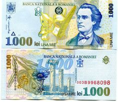 ROMANIA Lei 1998 UNC banknote issued in limited quantity colorful and interesting banknote,bearing the picture of M.Eminescu,Lily Flowers,quill pen and ruins of ancient fort of Histria on back. Money Notes, Medieval Town, How To Get Rich, Coin Collecting, Quilling, Character Art, World, Ebay, Banknote