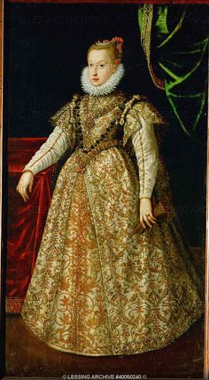 RENAISSANCE PAINTING 16TH   School:German  Anna Katharina Gonzaga, second wife of Archduke Ferdinand II of Tyrol (1529-1595), in her wedding dress. Oil on canvas (around 1582) 130 x 95 cm. Inv. 8217   Kunsthistorisches Museum, Gemaeldegalerie, Vienna, Austria