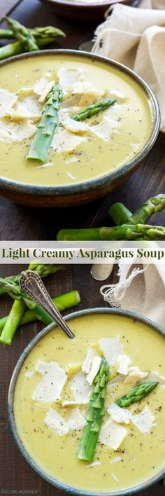 1 1/2 lbs Asparagus. 1 clove Garlic. 1 Leek. 1/2 cup Peas, frozen. 4 cups Chicken or vegetable broth, low sodium. 1 Kosher salt and black pepper. 1 Pinch Red pepper flakes. 1 tbsp Olive oil. 1 cup Non-fat or 2% greek yogurt, plain. 1 Parmesan cheese. 1 cup Water.