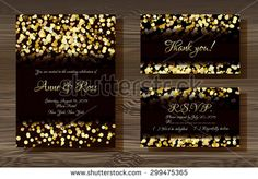 Unique vector wedding cards template with gold glitter texture decoration on wood texture background, Wedding invitation or save the date, RSVP and thank you card for bridal design, trendy gold style