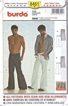 Burda 8451  Mens  Close Fitting Pants Pattern Low Waist  Flared Leg mans sewing pattern by mbchills
