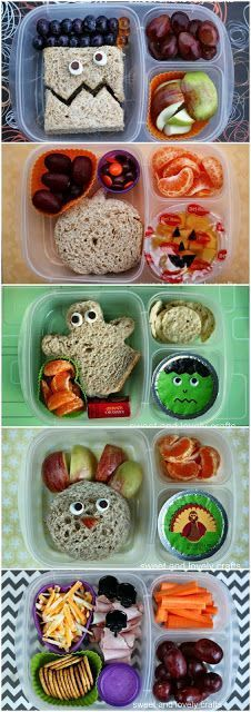 mittagessen kinder sweet and lovely crafts: fall & halloween lunches part 2 sweet and lovely crafts: fall & halloween lunches part 2 Kids Lunch For School, School Lunches, Lunch Kids, School Children, School Fun, Easy Lunch Boxes, Boite A Lunch, Toddler Lunches, Kid Lunches
