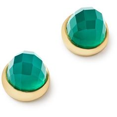 Bloomingdale's Green Onyx Faceted Stud Earrings in 14K Yellow Gold -... ($250) ❤ liked on Polyvore featuring jewelry, earrings, 14k gold earrings, bloomingdales earrings, 14k gold jewelry, 14k earrings and faceted earrings