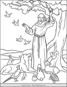 Pinterest People Coloring Pages, Jesus Coloring Pages, Easy Coloring Pages, Coloring Sheets For Kids, Animal Coloring Pages, Free Printable Coloring Pages, Catholic Kids, Catholic Saints, Francis Of Assisi