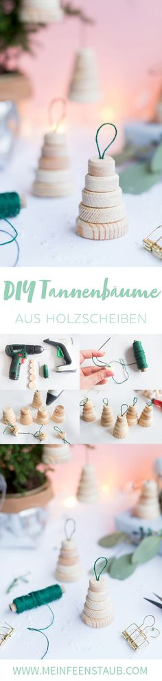 Kreative DIY-Idee zum Selbermachen: DIY Tannenbaum-Anhänger aus Holzscheiben selbst gemacht   Weihnachtsdeko selbermachen