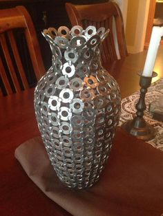 Vase made from washers - - Kunst aus Metall Metal Sculpture Artists, Steel Sculpture, Art Sculpture, Welding Art Projects, Metal Art Projects, Metal Crafts, Blacksmith Projects, Shielded Metal Arc Welding, Metal Welding