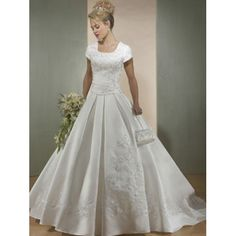 Dropped Waist Cap Sleeves Scoop neck Embroidered Satin A-Line Wedding Dresses