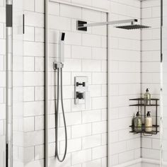 Rebrilliant Cahoon Diverter Complete Shower System with Square Rain Shower Handheld Shower and Lever Handle Tub And Shower Faucets, Shower Tub, Master Shower, Master Bathroom, Rain Shower Bathroom, Condo Bathroom, Cold Shower, Diy Shower, Bathroom Toilets