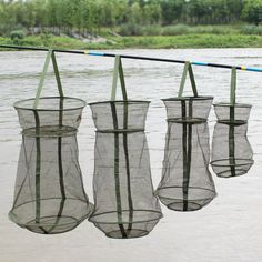 4Size Portable Fishing Net 3 Layer Round Folding Trap Metal Frame Network Casting Shrimp Mesh Cage Fish Net