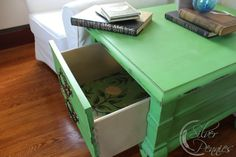A lovely side table finished in Antibes Green & Country Grey Chalk Paint® decorative paint by Annie Sloan and Annie Sloan's Decoupage medium | By Finding Silver Pennies