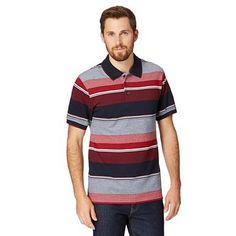 Big and tall red striped polo shirt