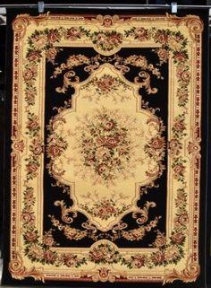 Amazon.com - Black Ivory Burgundy Green Beige 8x10 (7'10x10'2) Black Isfahan Area Rug Oriental Carpet Large New 662 - Machine Made Rugs