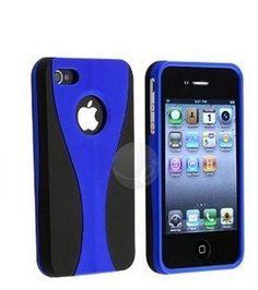 Blue 3-Piece Snap On Hard Case Cover For ATT Verizon Sprint Apple iPhone 4 4S