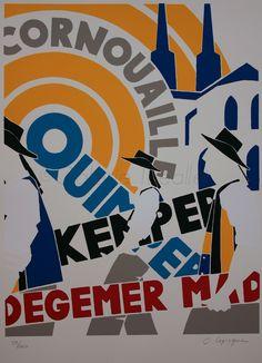 L'Office de tourisme de Quimper fête cette année ses 100 ans.   Deux belles réalisations artistiques dues à Olivier Lapicque symbolisent ce... L Office, Chicago Cubs Logo, Team Logo, Posts, Illustration, Olive Tree, Brittany, Posters, Artist