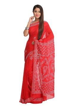 Ada Hand Embroidered Red Faux Georgette Lucknow Chikan Saree With Blouse-A129582 Price Rs.1,200.00 #Ada_Chikan chikankari dress material online india #lucknow chikan saree online shopping india #lucknow chikankari dress material #lucknow georgette saree online #lucknow saree #lakhnavi dress online #lucknow embroidery saree #ada lucknowi #latest trends in chikankari #lucknow stitch saree #lakhnavi designer saree #for women