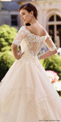 david tutera mc spring 2017 bridal half sleeves illusion off the shoulder sweetheart neckline heavily embellished bodice princess ball gown wedding dress lace back chapel train (117292) zbv