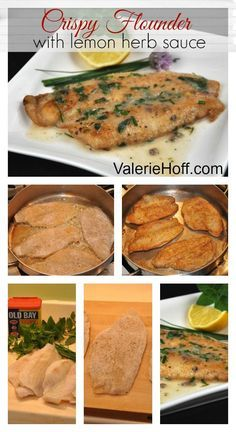 Crispy Flounder with Lemon Herb Sauce