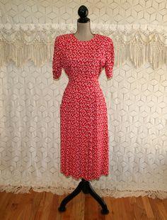 90s Dress Petite Short Sleeve Midi 40s Style Day Dress Boho