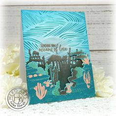 Handmade card by Julee Tilman using stamps and dies from the July 2020 My Monthly Hero Collection. #heroarts #mymonthlyhero #cardmaking #handmadecards #stamping #papercrafting Wave Stencil, Love Photos, Hero Arts, Petunias, Cool Cards, Creative Cards, I Card, Card Making, Atlantis