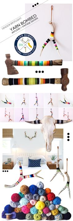 + Vendor Spotlight : Yarn Bombed Antlers + maybe I need to jazz up the antlers in the basement...